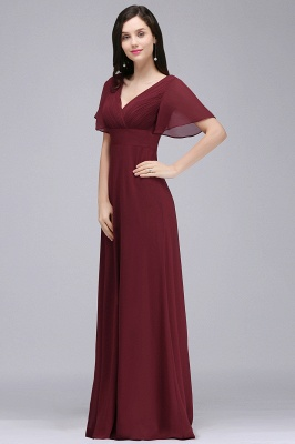 Simple A-Line  V-Neck Short-Sleeves Ruffles Floor-Length Bridesmaid Dresses_3