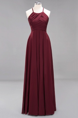 A-Line  Halter Ruffles Floor-Length Bridesmaid Dress_10
