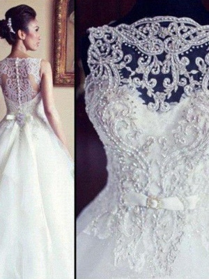 Dazzling Scoop Beaded Chapel Train Ribbon Applique Sleeveless Lace Tulle Wedding Dresses_3