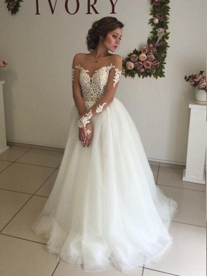 Long Sleeves Sweep Train Off-the-Shoulder Organza Wedding Dresses_4