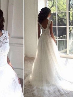 Charming Tulle Square Court Train Sleeveless Wedding Dresses_3