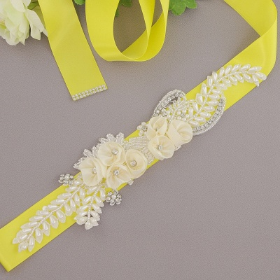 Handmade Flower Pearl Wedding Sash with Beadings_5