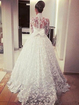 Glamorous High Neck Lace Long Sleeves Wedding Dresses | Cathedral Train Ribbon Puffy Bridal Gowns_4