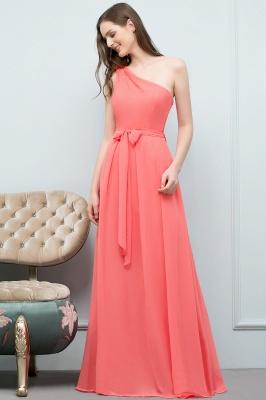 A-line  One-Shoulder Sleeveless Floor-Length Bridesmaid Dress with Bow Sash_4