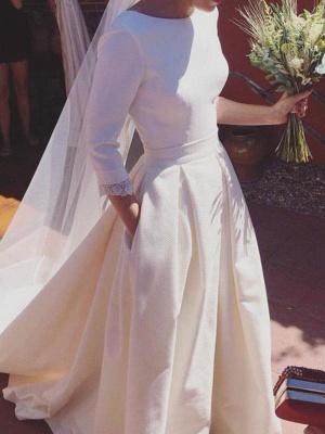 Glamorous Sweep Train Ruffles Scoop Satin 3/4 Sleeves Wedding Dresses_1