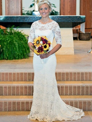 Scoop 1/2 Sleeves Sweep Train Column Ruched Lace Wedding Dresses_1