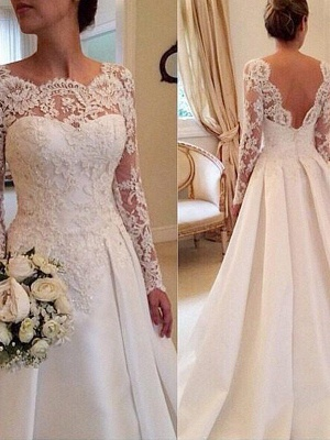Court Train Long Sleeves Scoop Puffy Satin Lace Wedding Dresses_1