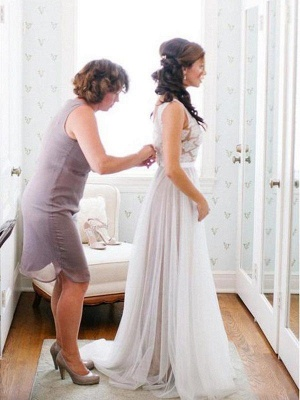 Glamorous Sleeveless Floor-Length Scoop Lace Tulle Wedding Dresses_3