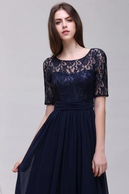 Elegant A-line  Lace Scoop Half-Sleeve Floor-Length Bridesmaid Dress_3