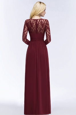 Elegant A-Line  Jewel Long Sleeves Ruffles Floor-Length Bridesmaid Dresses_2