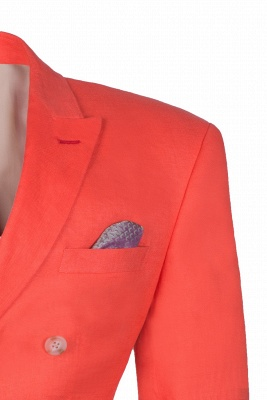 High Quality Latest Design Watermelon Peak Lapel Wedding Suit Back Vent_4