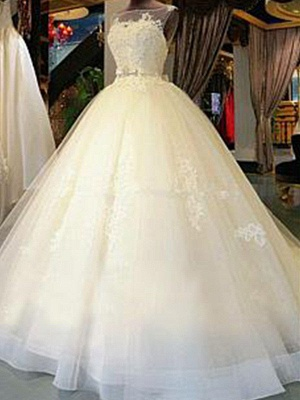 Cathedral Train Sleeveless Ribbon Scoop Applique Tulle Puffy Wedding Dresses_1