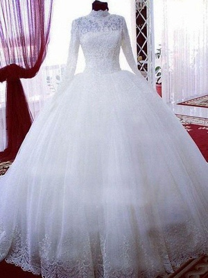 Chapel Train High Neck Long Sleeves Lace Puffy Tulle Wedding Dresses_4