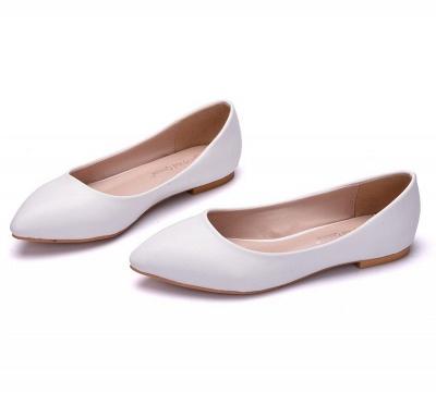 Woman Round Toe PU Flat Wedding Shoes_2