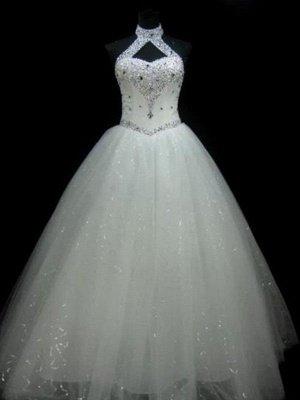 Puffy Sleeveless Floor-Length Beaded Tulle Halter Sequin Wedding Dresses_1
