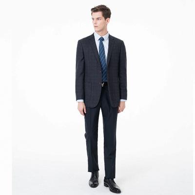 Slim Fit Peak Lapel Two-piece Suit Lattice Casual Suits_1