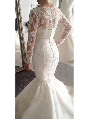 Gorgeous Court Train Long Sleeves Tulle Applique Bateau Wedding Dresses_3