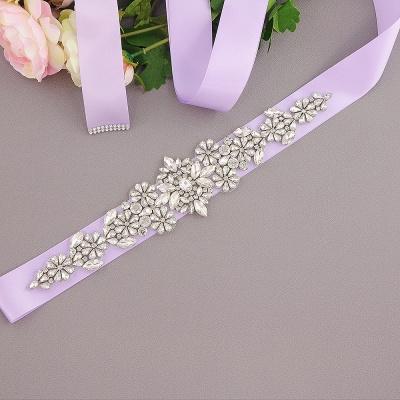 Satin Flowers Pattern Wedding Sash with Pearls_9