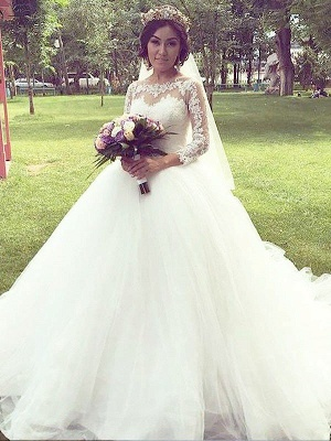 Charming Long Sleeves Court Train Puffy Bateau Tulle Wedding Dresses_1