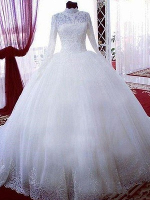 Chapel Train High Neck Long Sleeves Lace Puffy Tulle Wedding Dresses_1