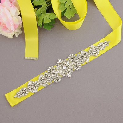 Satin Flowers Pattern Wedding Sash with Pearls_6