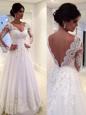 V-neck Puffy Tulle Long Sleeves Court Train Lace Wedding Dresses_4