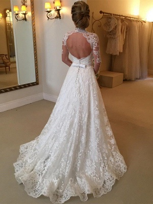 High Neck Court Train Puffy Long Sleeves Lace Wedding Dresses_3