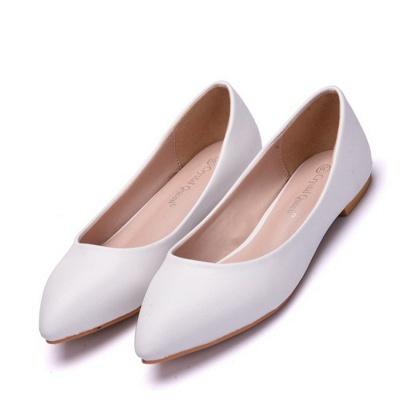 Woman Round Toe PU Flat Wedding Shoes_1