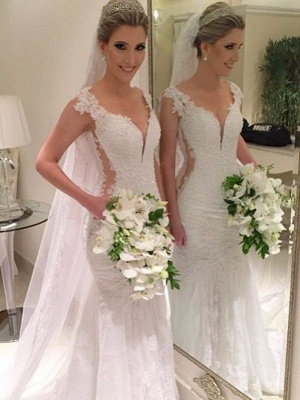 Sleeveless V-neck Lace Sweep Train Sexy Mermaid Wedding Dresses_1