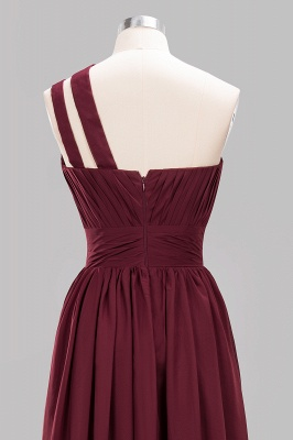 Elegant A-Line Burgundy One-Shoulder Sleeveless Ruffles Floor-Length  Bridesmaid Dresses_11