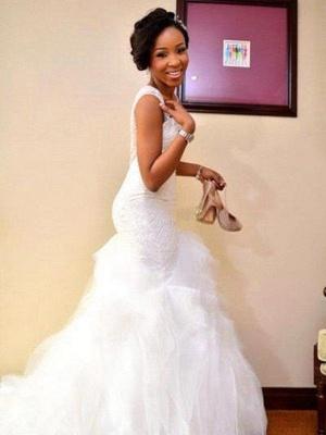 Gorgeous Sleeveless Sweetheart Court Train Tulle Sexy Mermaid Beaded Wedding Dresses_4
