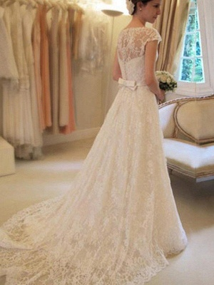 Court Train Applique Short Sleeves Square Lace Wedding Dresses with Ribbon_3