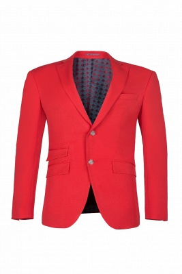 Red Peak Lapel Single Breasted High Quality Wedding Prom Suits_1