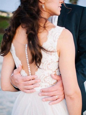Glamorous Sleeveless Floor-Length Scoop Lace Tulle Wedding Dresses_5