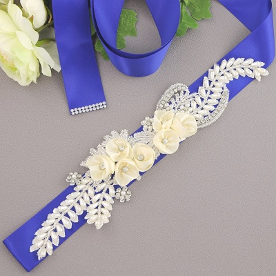 Handmade Flower Pearl Wedding Sash with Beadings_2