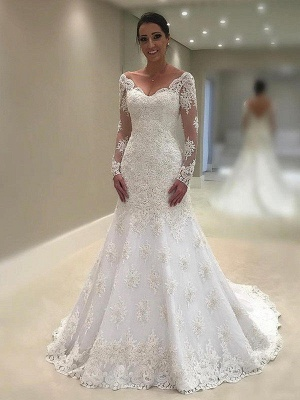 V-neck Applique Lace Sexy Mermaid Wedding Dresses | Long Sleeves Court Train Bridal Gowns_1