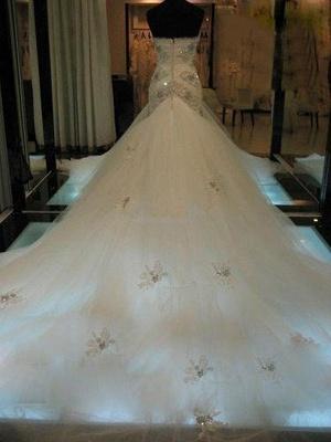 Beaded Sleeveless Tulle Sweetheart Court Train Sexy Mermaid Wedding Dresses_3