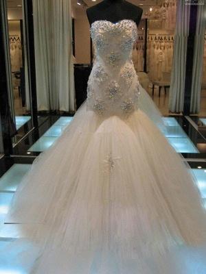 Beaded Sleeveless Tulle Sweetheart Court Train Sexy Mermaid Wedding Dresses_1