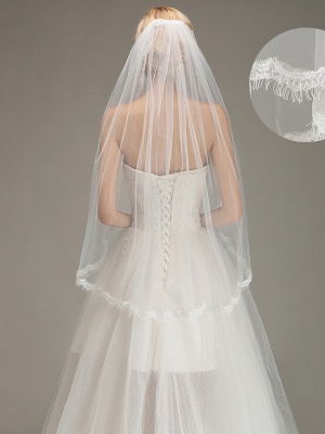 Lace Edge One Layer Wedding Veil with Comb Soft Tulle Bridal Veil_1