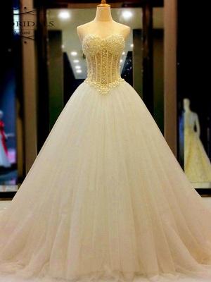 Sweetheart Court Train Tulle Puffy Sleeveless Beaded Wedding Dresses_1