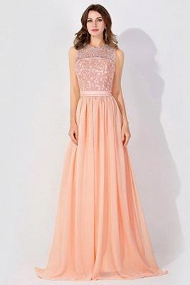 A-Line  Lace Jewel Sleeveless Floor-Length Bridesmaid Dress with Ruffles_1