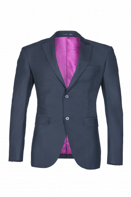 Custom Made Single Breasted Peak Lapel Dark Navy Best Men Groomsmen_2