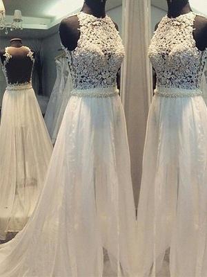 Breathtaking Sweep Train Scoop Sleeveless Chiffon Wedding Dresses_1