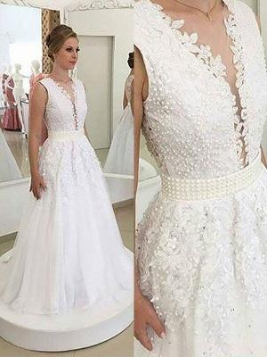 Elegant Sleeveless Sweep Train Tulle V-neck Applique Wedding Dresses_1