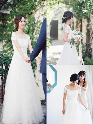 Short Sleeves Sweep Train Tulle Bateau Romantic Wedding Dresses_1
