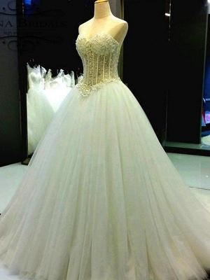 Sweetheart Court Train Tulle Puffy Sleeveless Beaded Wedding Dresses_4