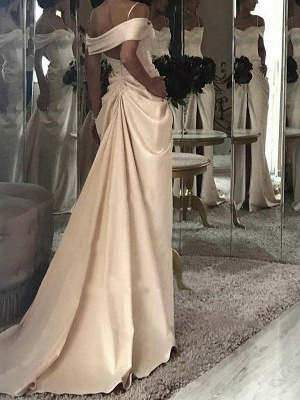 Short Sleeves Ruffles Satin Sweep Train Wedding Dresses | Column Off-the-Shoulder Bridal Gowns_3