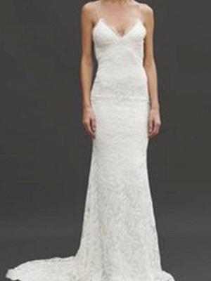 Court Train  Sleeveless V-neck Column Spaghetti Straps Lace Wedding Dresses_5