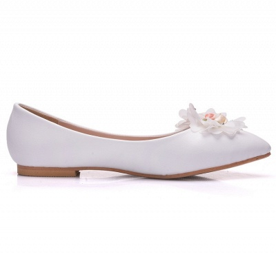 Fashion Pionted Toe PU Flat Wedding Shoes with Flowers_4