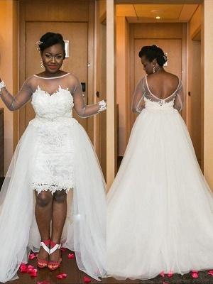 Court Train Long Sleeves Tulle Scoop Romantic Wedding Dresses_1